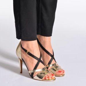 French Connection Nava Heels Strappy Metallic
